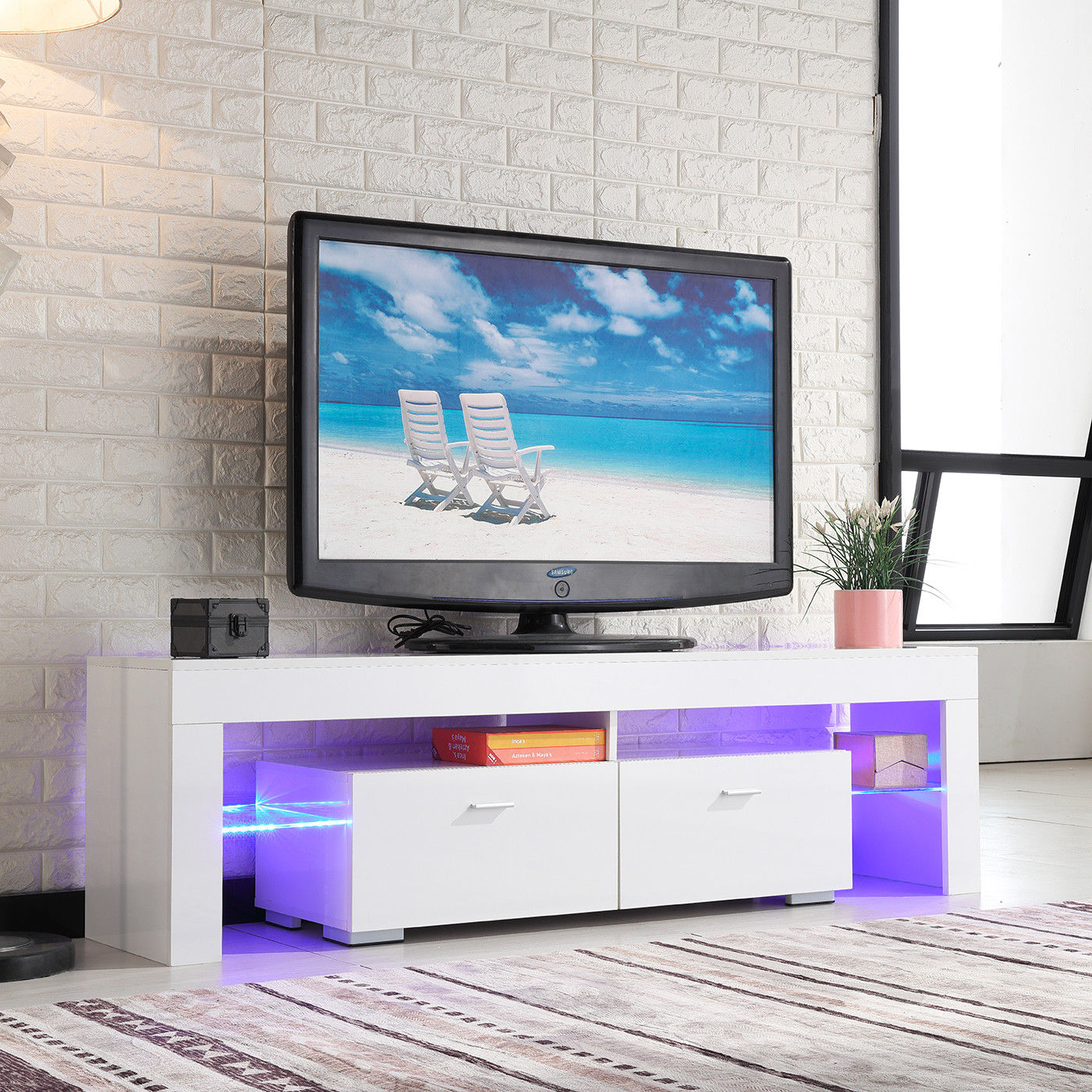 High Gloss White TV Stand Unit Cabinet Console Furniture W/LED Shelves 2  Drawers