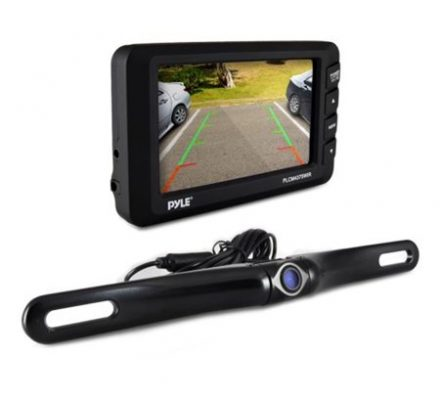"""cord free Rear View Back-up Camera & Monitor Parking/Reverse Assist System, 4.3"""" Display, Distance Scale Lines, Night Vis Waterproof Cam, Swivel Angle Adjustable"""