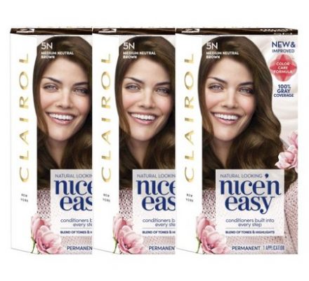 Clairol Nice 'n Easy Permanent Hair Color 5N Medium Neutral Brown, 3 pack